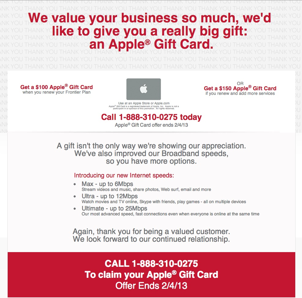 How not to get a 100 apple gift card from frontier tualatin web frontier thank you magicingreecefo Image collections