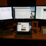 New MacBook Pro with three monitors