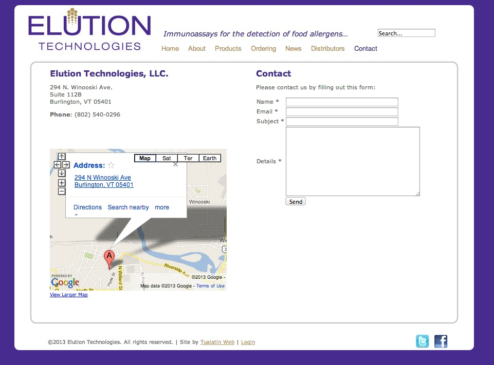 elution technologies contact form and google maps tualatin web